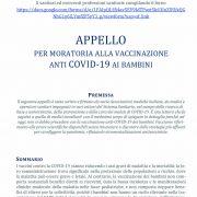 Appello contro la vaccinazione pediatrica per il COVID 19, sottoscritto a oggi da oltre 1000 fra medici e sanitari.                      SCARICA QUI IL PDF